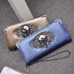 factory outlet handbags Australia - factory outlet brand handbag and retro punk woman long wallet leather fashion leather wallet skull woman purse personality trend