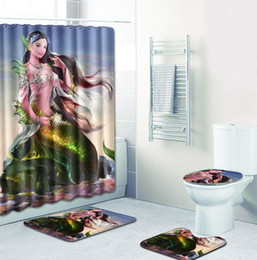 Piece curtains online shopping - Mermaid Anti Slip Anchor Toilet Carpet Bathroom Mat Set Flannel Toilet Seat Cover bathroom curtains four Pieces of Bath Mat Bath