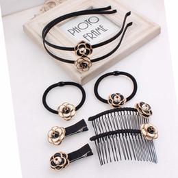 Make Flower Hair Clips Australia - Korea Hair Accessories Custom Made Retro Camellia Flower Hairpins Hair Clips For Women Elastic Band Bows Barrette 5