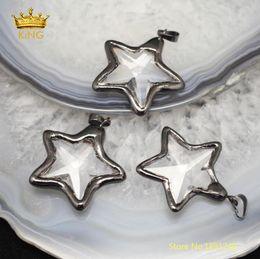 Necklaces Pendants Australia - 10pcs 35mm Star Shaped Bezel Pendants Crafts Earrings,faceted Clear Glass Plating Gunmetal Edged Charms Necklace Bulk Yt30 J190615