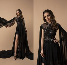 $enCountryForm.capitalKeyWord Australia - 2019 Berta Side Split Prom Dresses Bateau Neck Appliqued Beaded Sweep Train Sexy Evening Gowns With Wrap Chiffon Formal Party Dress Wear
