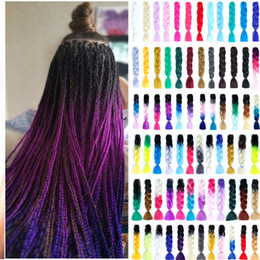 Wholesale MUMUPI Ombre Afro Box Braiding Hair Kanekalon Jumbo Braids Synthetic Hair for Crochet Braids False Extensions headwear