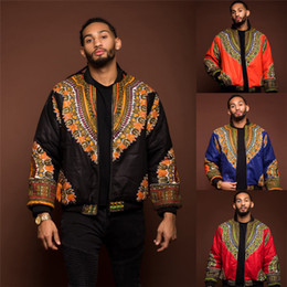 Wholesale traditional fashion clothes for sale – dress 2019 African Men Jacket Print Rich Bazin Long Sleeve Fashion Africa Traditional Dashiki Coat for Male Clothing S XL