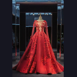 long sleeve maxi dresses Australia - 2020 Elie Saab Red Formal Celebrity Wear Evening Dresses A Line Maxi Dress Sheer Bodice Long Sleeves Appliques Prom Party Gowns