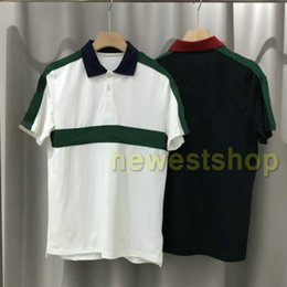 Wholesale polo white stripe resale online - 2020 new Luxury Europe mens Stripe splicing t shirt High Quality screw thread Cotton POLO letter print t shirts designer Casual tops tee