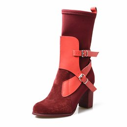 Fitted Boots Australia - autumn winter women high boots suede leather mix stretch fabric short boots round toe chunky high heel slim fit sock boots mujer