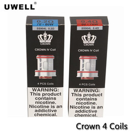 cigarette crown UK - Uwell Crown IV Replacement Coils Dual SS904L 0.2ohm   0.4ohm 4pcs pack For CROWN 4 Tank Atomizer E Cigarettes Coil Cores 100% Authentic