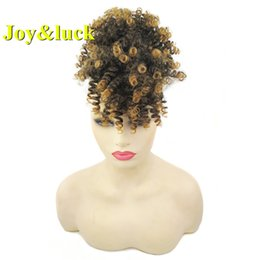 curly hair buns NZ - Joy&luck Short Kinky Curly Hair Bun chignon With Fringe Synthetic High Temperture Fiber Different Colors for Choose