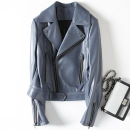 $enCountryForm.capitalKeyWord Australia - [Long-term stock] 2018 autumn and winter new leather leather female sheep skin coat motorcycle clothing Slim W