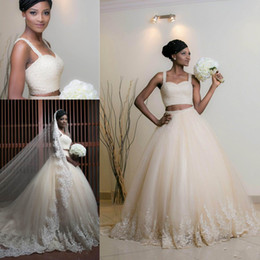 $enCountryForm.capitalKeyWord Australia - 2019 New African Two Pieces Ball Gown Wedding Dresses Spaghetti Straps Bling Crystal Beaded Lace Appliques Long Plus Size Formal Bridal Gown