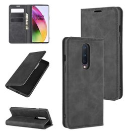 business card holder magnetic Australia - For OnePlus 8 Retro-skin Business Magnetic Suction Leather Case with Holder & Card Slots & Wallet