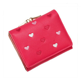 Lovely Cards Australia - Lovely Heart Short Women Wallet Multi-card Tri-fold Women Coin Card Purse Fashion Females Wallet Embroidery Lady Coin Pocket New