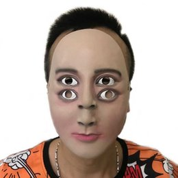 Human Face Masks NZ - Cool Funny Latex Mask Halloween Terror Ghosting Handsome Man Party Cosplay Costumes Props Human Face Double Eyes Kids Children Masks