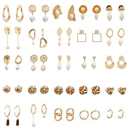 Freshwater pearl drop earrings online shopping - Concise Gold Drop Earrings For Women Lover Vintage Elegant Brincos Female DIY Wedding Irregular Freshwater Pearl Jewelry