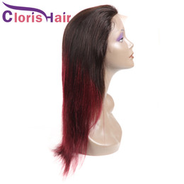 Glueless Wig Braids For Australia - Colored Red Lace Front Human Hair Wig Straight Raw Indian Glueless Wigs For Black Women Pre Plucked 1B 99J Burgundy Ombre Braided Wig