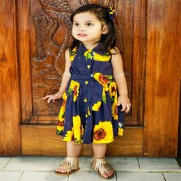 floral print knee length tops Australia - New Sweet Summer Girl Dress Toddler Kids Baby Girls Clothes Print Sunflower Princess Party Tutu Flower Dress Tops