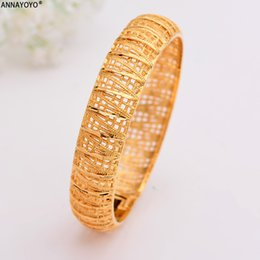 24k gold jewelry dubai 2019 - Annayoyo 1Pcs 24k Gold Bangle for Women Dubai Bride Wedding Bracelet Ethiopian Bracelet Africa Bangle Arab Jewelry disco