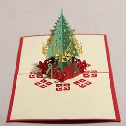 3d cards festivals UK - 100pcs 3D Three-dimensional Greeting Cards Paper Christmas Tree Model Festival Gift party gift