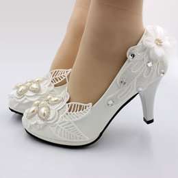shoe sew pearls Canada - 8CM high heel luxury crystal pearls lace shoes woman white wedding shoes bride luxury female party birthday dinner pump