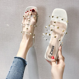 Summer Jelly Shoes Australia - 2019 Summer New Women High Heels Slippers Square Heels Rivet Sandals Fashion Jelly Shoes Casual Peep Toe Sandals