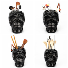 wholesale eco makeup brushes Australia - Fashion Makeup Brush sort out tools creative Skull skeleton Pen container resin sculpture pen holder Household desk ornaments T9I00131