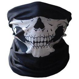 scarf mask for face UK - Halloween Skull Party Black Mask Neck Scary Masks Motorcycle Bicycle Ski Skull Half-Face Ghost Scarf Headwear Mask Cycling D45