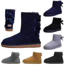 $enCountryForm.capitalKeyWord Australia - Fashion WGG Women boots Short Mini Australia Knee Tall Winter Snow Boots Designer Bailey Bow Ankle Bowtie Black Grey chestnut red size 5-10