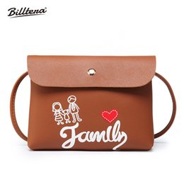 Suede Ladies Handbags NZ - Cheap Billtera Love and Family Style Women Messenger Bag Casual Style PU Leather Female Shoulder Corssbody Bag 9 Colors Ladies Handbag