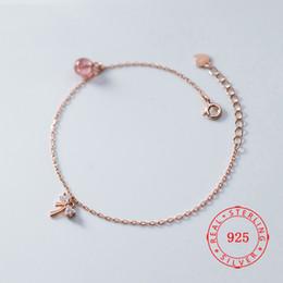 $enCountryForm.capitalKeyWord Australia - New Fashion Bracelet Genuine 925 Sterling Silver Charm Bow Knot Bracelet 6mm strawberry quartz pink beads gemstone silver jewelry