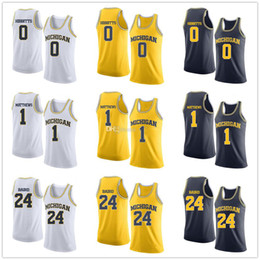 custom basketball jerseys Australia - Michigan Wolverines College #0 Brent Hibbitts #1 Charles Matthews #24 C.J. Baird Basketball Jerseys Mens Stitched Custom Number Name