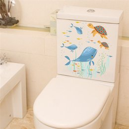 $enCountryForm.capitalKeyWord NZ - Creative Cute Turtles Whale Fish Sealife Wall Stickers Diy Cartoon Mural Art Decals For Toilet Decorations Home Decor Posters