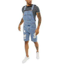 Wholesale overalls denim for man resale online – designer Pocket Men s Jeans Jumpsuits Pants Summer Retro Distressed Denim Bib Overalls For Men Male Classic Suspender Short Pants