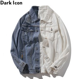 $enCountryForm.capitalKeyWord Australia - Dark 2pcs Patchwork Color Contrast High Street Jeans Jacket Men New Fashion Denim Jackets Streetwear Clothes Plus Size