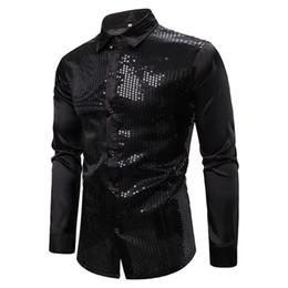 shiny satin shirts Australia - Mens Black Glitter Sequin Shirts New Long Sleeve Silk Satin Shiny Disco Party Shirt Men top Stage Dance Prom Costume Chemise