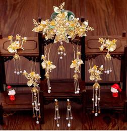 $enCountryForm.capitalKeyWord Australia - Bride Xiuhe Headdress Golden Leaf Ancient Dress Phoenix Crown Soap Show Hairpin Set Chinese Wedding Jewelry Free of Freight