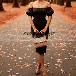 $enCountryForm.capitalKeyWord Australia - Vintage Little Black Dress Knee Length Short Cocktail Dresses 2019 Robe de coktail Sheath off Shoulder Party Dress with Sleeves