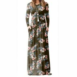 62f9ca4295 Floral Printed A-line Long Dress Women Long Sleeve Maxi Dresses Femme Summer  Vintage Boho Beach Sundress Plus Size PL083G T5190604