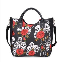 $enCountryForm.capitalKeyWord Australia - Factory Brand Women Bags Fashion Messenger Bag Handbag Punk Skeleton Skull Leather Hand Clutch Bag Printing Rose Hand Bag