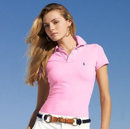 Venta al por mayor de Las mujeres camisas de polo de verano logotipo de la marca bordado decoración clásica solapa Color sólido Casual Tops multicolor opcional