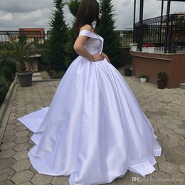 $enCountryForm.capitalKeyWord NZ - Sexy Off Shoulder Beading Ball Gown Wedding Dresses Short Sleeve Pleated Lace Up Back Garden Bridal Gowns Formal Long Vestidos De Marriage