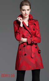 Wholesale NEW! women fashion british middle long spring trench coat high quality brand designer double breasted trench for women size S-XXL 3 colors