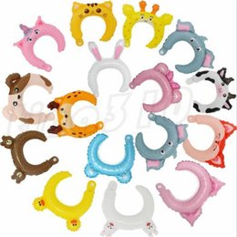 festival party accessories NZ - New Creative Children's Cartoon Animal Hair Hoop Aluminum film balloon Hair hoop festival party small gifts T9I0097