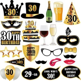$enCountryForm.capitalKeyWord NZ - Happy Birthday Take A Photo Prop Funny Party Decoration 30 Years Old Adult Paper Golden Creative Hot Sales 7 5lzC1