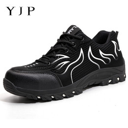 men's breathable summer shoes Australia - YJP exhibition breathable safety shoes men's Lightweight summer anti-smashing piercing work sandals Single mesh sneakers 39-48