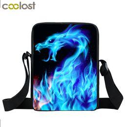 Lion mini online shopping - Blue Fire Snake Mini Messenger Bag Boys Girls School Bags Men Women Colorful Lion Dragon Crossbody Bag Kids Gift Bags bookbag