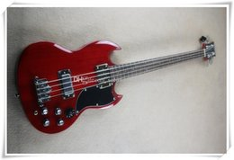 bass guitar red black Australia - 4 Strings Transparent Red Body Electric Bass Guitar with 2 Pickups,Chrome Hardware,Black Pickguard,Can be customized