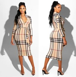 dresses states UK - cross-border explosion models Europe and the United States foreign trade women's plaid long-sleeved dress nightclub dress belt belt BFEB