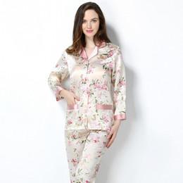 $enCountryForm.capitalKeyWord Australia - 2019 New Spring Women 100% Real Silk Pajamas Set Printing Sexy Pyjama Femme Sleep Lounge Bedgown Girls Pure Silk Sleepwear Suits T190618