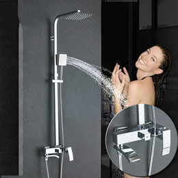 Contemporary bath fauCets online shopping - Chrome Bathroom Rainfall Shower Faucet Set Bathtub Mixers Column Bath Shower Tap Waterfall Shower Head Wall Mounted
