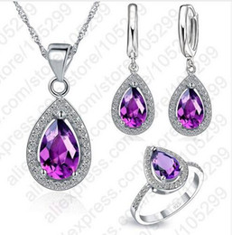 $enCountryForm.capitalKeyWord Australia - Free Ship Purple Jewelry Sets Water Drop Cubic Zirconia CZ Stone 925 Sterling Silver Earrings Necklaces Finger Rings